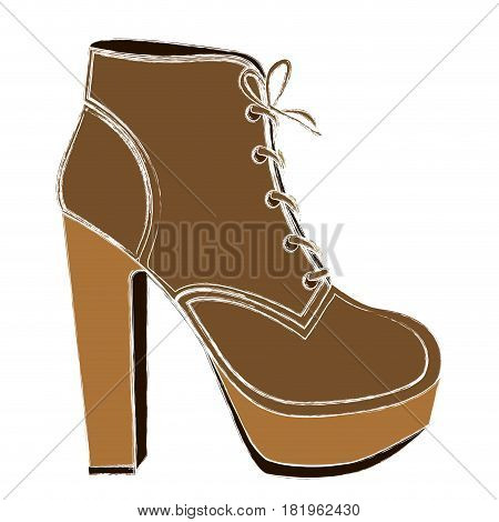 color sketch of high heel shoe with shoelaces vector illustration