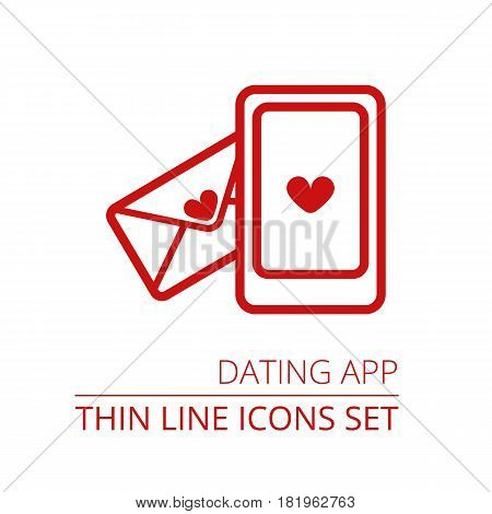 Dating App Thin Line Vector Icon