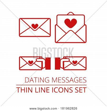 Dating Messages Thin Line Vector Icons Set