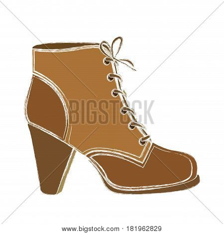 color sketch of leather high heel shoe with shoelaces vector illustration