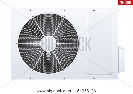 Classic Split air conditioner house system. Externally fitted unit. Evaporative cooler with heat pump system. Sample White color. Vector Illustration on isolated white background