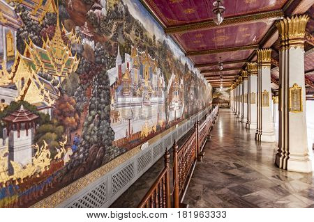 Wall Paintings At Temple Phra Sri Ratana Chedi Covered With Foil Gold In The Inner Grand Palace