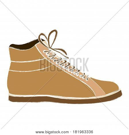 color sketch of male leather boot with shoelaces vector illustration
