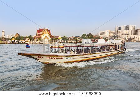People Travel In The Morning With Longboats At The River Chao Phraya