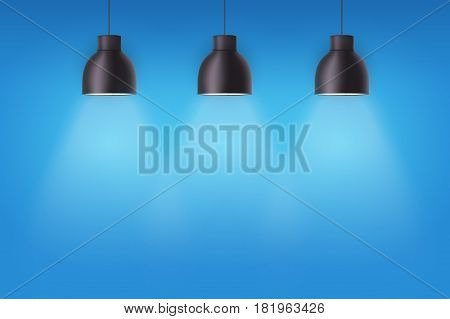 Vintage metal stylish cone lamps on blue painting wall. Original Retro design. Hang ceiling model. Vector illustration Isolated on white background.