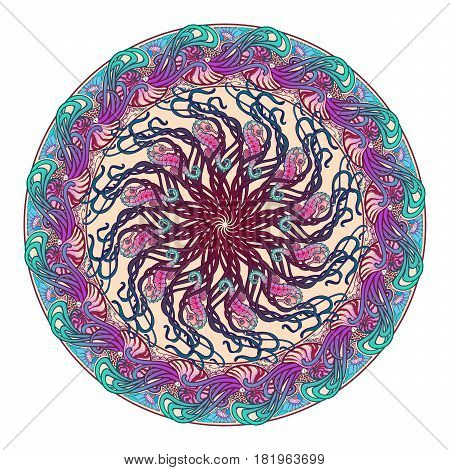 Circular ornament with Nautilus Pompilius sea horse and other sea creatures in Art Nouveau style. Intricate composition, bright colours. Mandala tatoo. Textile print. EPS10 vector illustration.