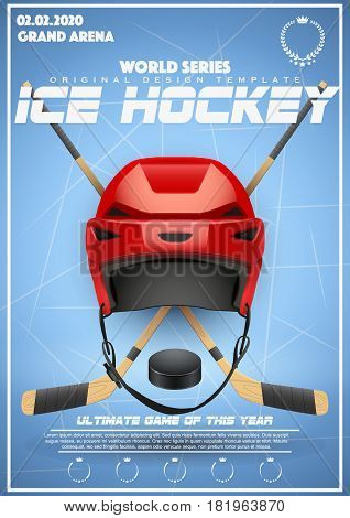 Poster Template of Ice Hockey Tournament. Cup and Trophy Games. Advertising. Sport Event Announcement. Vector Illustration.