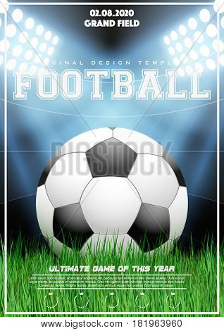 Poster Template with Football Tournament. Soccer ball on grass and night stadium. Cup and Trophy Advertising. Sport Event Announcement. Vector Illustration.