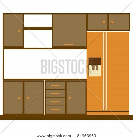 color silhouette of kitchen cabinets with fridge vector illustration