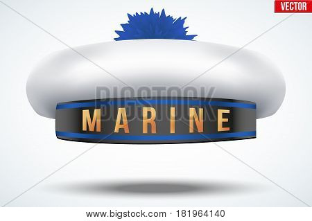 Sailor beret with pom-pom. Nautical cap and marines hat. Vector Illustration isolated on background.
