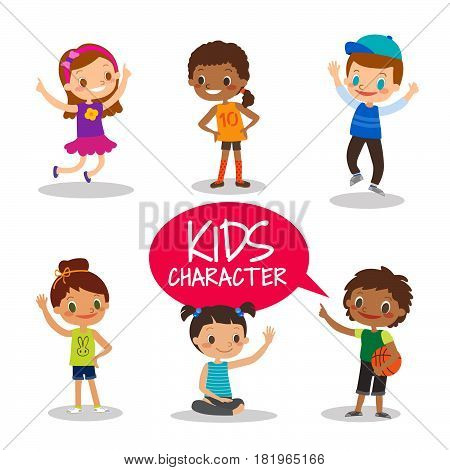 Happy teen preteen kids cartoon characters on white background