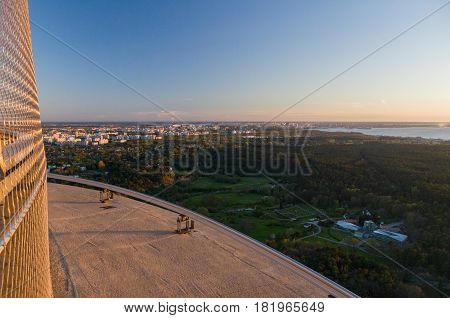 Sunset over Tallinn city view from observation platform of TV tower Estonia