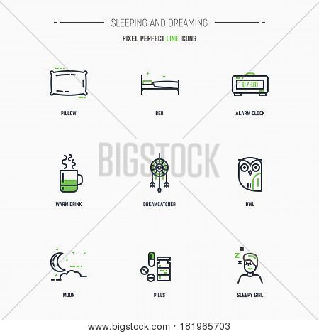 Sleep and dreams icon set. Line style thin and thick outlines vector. Pillow owl bed dreamcatcher tea and other objects related to sleep and elements. Pixel perfect 64x64 pixels icons.