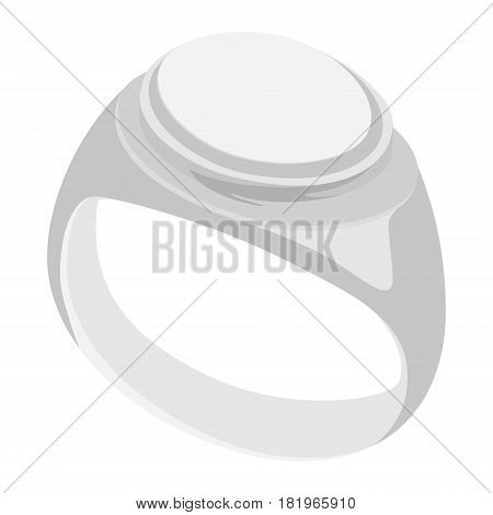 Vector illustration mans silver vintage heraldic signet ring.