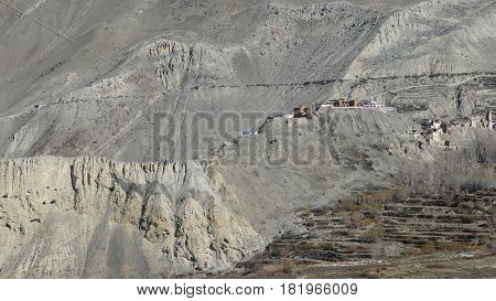 Small Village On Mountain In Nepal