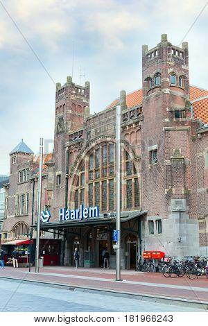 Haarlem, Netherlands - April 2, 2016: Building of the railway station in Haarlem, Holland
