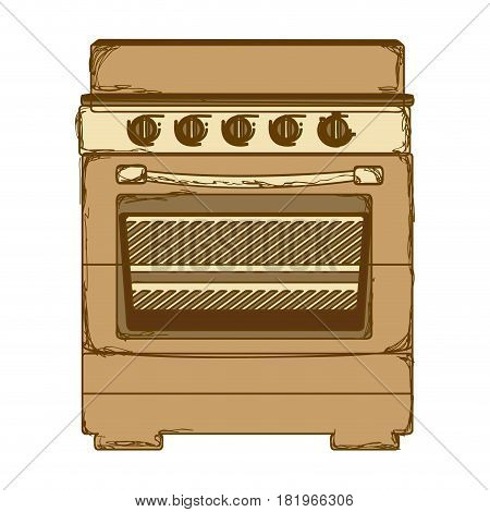 sepia silhouette of stove with oven vector illustration