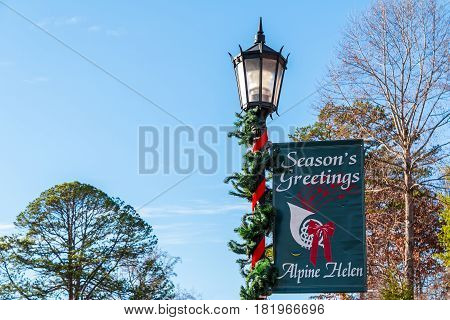 Helen, Georgia, USA - December 14, 2016: The lamppost with banner