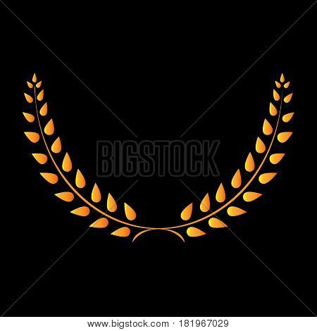 Sign laurel wreath gold. Golden icon isolated on black background. Volume design style. Emblem of glory success. Symbol of leader victory triumph. Stock vector illustration