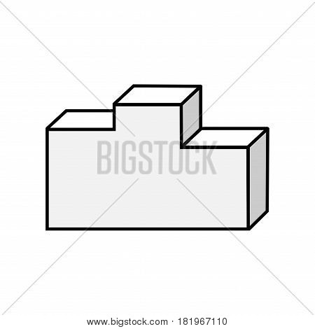 Sign pedestal. Monochrome podium icon isolated on white background. Volume design style. Emblem of reward achievement. Symbol of competition prize achievement. Stock vector illustration