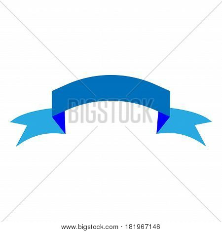 Ribbon blue sign. Decoration banner symbol. Colorful icon isolated on white background. Flag flat mark. Decoration concept. Modern art scoreboard. Stock vector illustration