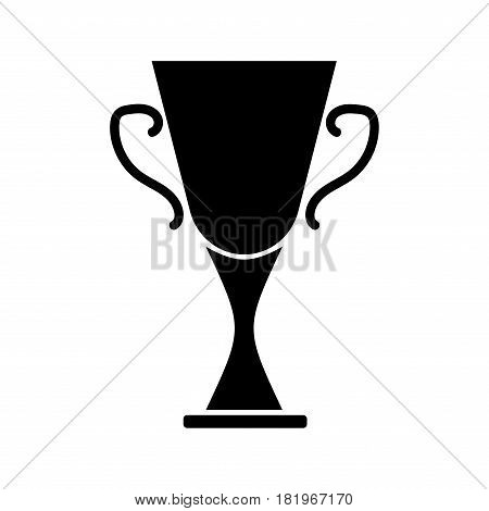 Cup winner sign. Symbol of prize. Black trophy isolated on white background. Achievement win mark. Concept of award. Modern art scoreboard. Stock vector illustration