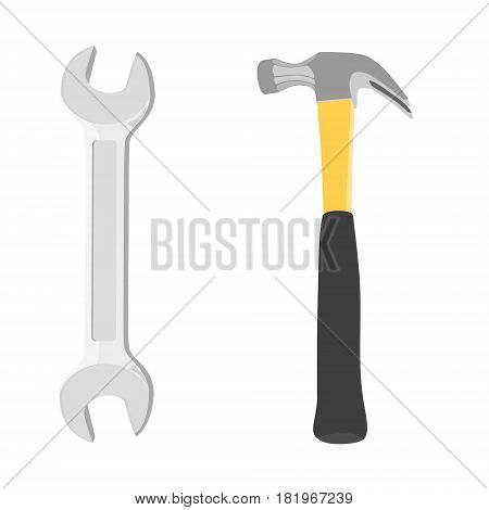 Vector illustration iron hammer with black handle and of two-way wrench isolated on white background. Working tool icon.