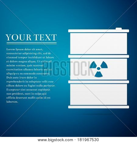 Radioactive waste in barrel flat icon on blue background. Toxic refuse keg. Radioactive garbage emissions, environmental pollution, danger of ecological disaster. Vector Illustration