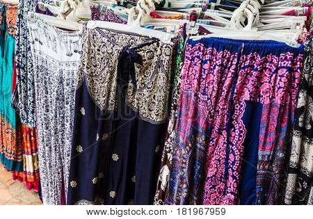 women's clothing on street market, Cambodia, Siem Reap