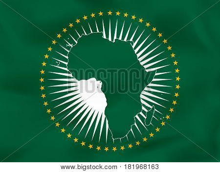 African Union Waving Flag. African Union National Flag Background Texture.