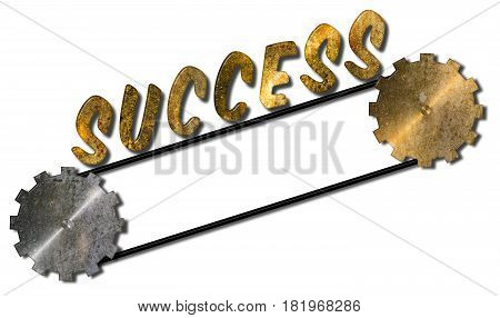 Success word moving upwards on a pulley with two cogs 3D illustration on an isolated white background