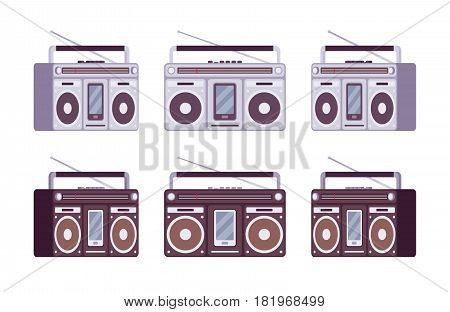 Boombox for smartphone set in grey and black color, stream music from phone device, music for youth outdoor entertaining, different positions, isolated on white background