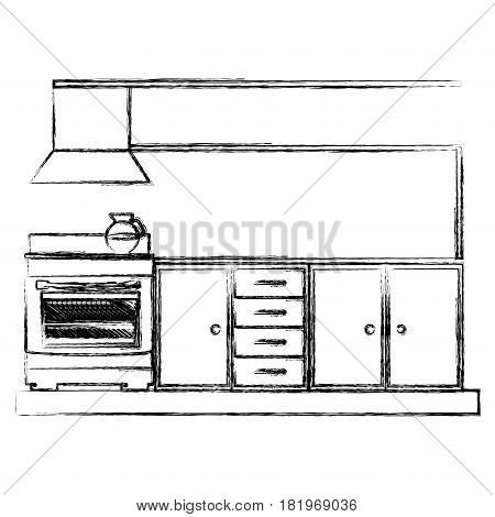monochrome sketch of lower kitchen cabinets with stove and oven vector illustration