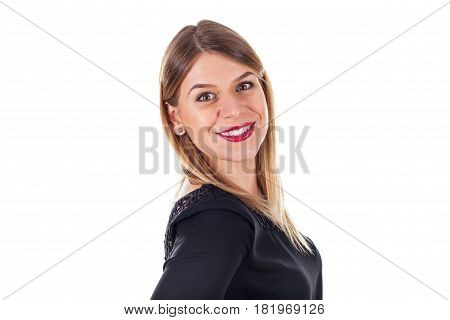 Picture of a beautiful woman's profile standing on an isolated background