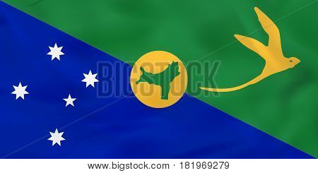 Christmas Island Waving Flag. Christmas Island National Flag Background Texture.