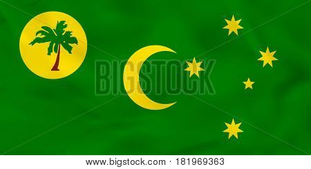 Cocos Islands Waving Flag. Cocos Islands National Flag Background Texture.