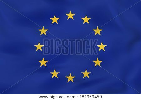 European Union Waving Flag. European Union National Flag Background Texture.