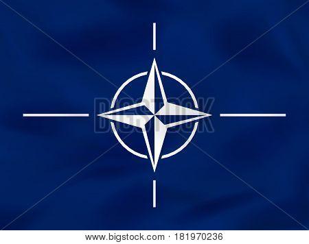 Nato Waving Flag. Nato National Flag Background Texture.
