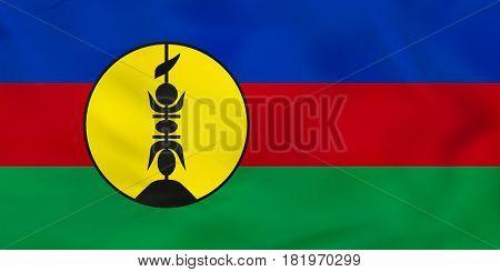 New Caledonia Waving Flag. New Caledonia National Flag Background Texture.