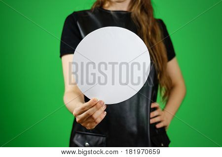 Woman Showing Blank White Rounded Flyer Brochure Booklet. Leaflet Presentation. Pamphlet Hold Hands.