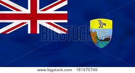 Saint Helena Waving Flag. Saint Helena National Flag Background Texture.
