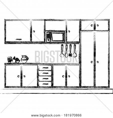 monochrome sketch of modern kitchen cabinets vector illustration
