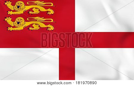 Sark Waving Flag. Sark National Flag Background Texture.