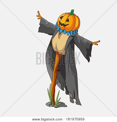 Cartoon style scarecrow isolated. Against a gray background