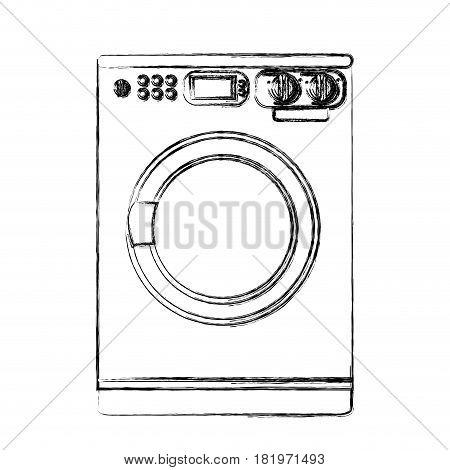 monochrome sketch of washing machine vector illustration