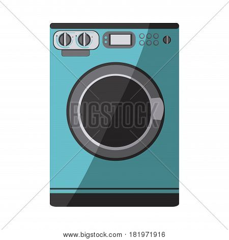 blue color silhouette of washing machine vector illustration