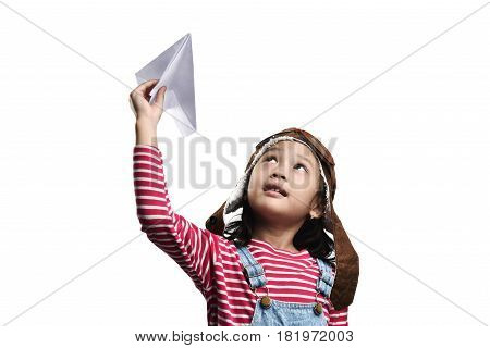 Happy Asian Little Girl Playing With Toy Paper Airplane