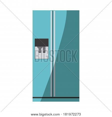 blue color silhouette of fridge with water dispenser vector illustration