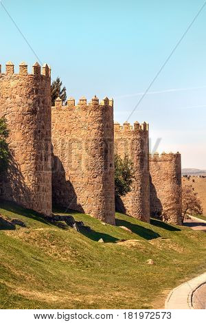 A view over the walls of Avila, an old town in Spain, slightly toned