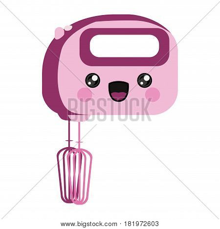 pink color silhouette of cartoon kitchen mixer vector illustration